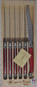 Neron Coutellerie Laguiole 6-Piece Steak Knife Set With Plates, Red Handle With Wooden Box by Jean Neron, Red