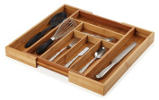 Organic Bamboo Extendable Drawer, Heim Concept Expandable and Extendable 6 - 8 Slots Organiser Cutlery Tray Layout for Utensils Utility Accessories Storage