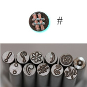 BIJ-882-9, KENT Metal Punch Stamps, Size 5.0mm, Number Sign Punctuation Marks , Sold Individually