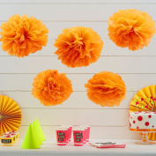 Ginger Ray Neon Fluorescent Orange Tissue Paper Pom Poms 5 Pack Wedding & Party Decorations - Neon Birthday