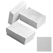 White Foil Swirl Cotton Filled Jewellery Boxes 1 3/4 X1 1/8 X 5/8 Size 20 Pack