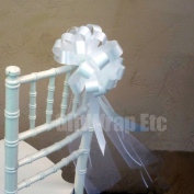 White Wedding Pull Bows with Tulle Tails - 20cm Wide, Set of 6