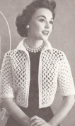 Vintage Crochet PATTERN to make - Knot Lace Bolero Shortie Jacket. NOT a finished item. This is a pattern and/or instructions to make the item only.