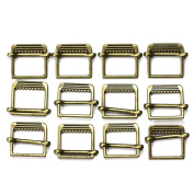 Set of 12 Slide Style Metal Buckles, Antique Gold
