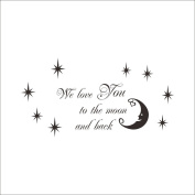Fange DIY Removable We Love You to the Moon and Back With Lovely Moon Stars and Hearts Art Mural Vinyl Waterproof Wall Stickers Kids Room Decor Nursery Decal Sticker Wallpaper 120cm x 60cm