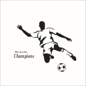 Fange DIY Removable Soccer Boy We Are the Champions Quote Saying Art Mural Vinyl Wall Stickers Boys' Room Decor Decal Sticker Waterproof Wallpaper 90cm x 70cm