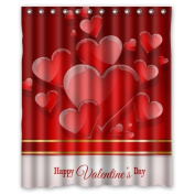 CozyBath Valentines day Love Waterproof Polyester Fabric 150cm (w) x 180cm (h) Shower Curtain and Hooks