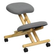 Flash Furniture Mobile Wooden Ergonomic Kneeling Chair in Grey Fabric