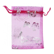 G2Plus New Arrival 2015 Hot 100PCS 9X12CM Rose Butterfly Floral Print Pattern Drawstring Organza Jewellery Pouches Wedding Party Festival Favour Gift Bags Candy Bags