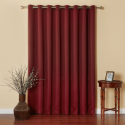 Burgundy Wide Width Silver Stainless Steel Grommet Top Thermal Blackout Curtain 250cm W X 240cm L Panel