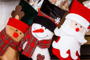 3 Pcs Set - Classic Christmas Stockings 46cm Cute Santa's Toys Stockings - Santa & Friends