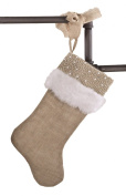 Holiday Décor Jute Design Natural Christmas Stocking, One Piece
