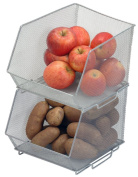 Mesh Stacking Bin Silver (Sold As 1 Bin) Storage Containers Great for Food, Crafts, Cleaning or Pantry Items 1613