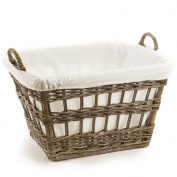 The Basket Lady Kubu Wicker French Laundry Basket One Size (size 1) Serene Grey
