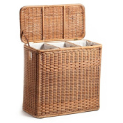 The Basket Lady 3-Compartment Wicker Laundry Hamper, Toasted Oat