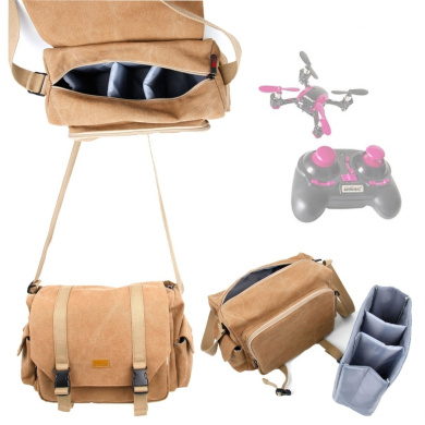 DURAGADGET Tan-Brown Large Sized Canvas Carry Bag for UDI U839 / U818A-1 Discovery Quadcopter - With Multiple Pockets & Customizable Interior Compartment