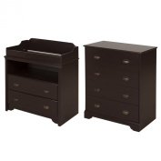 South Shore Fundy Tide Changing Table and 4-Drawer Chest, Espresso
