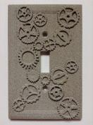 Gears (Steampunk) Stone/Copper/Patina Light Switch Cover (Custom)