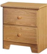 Lang Furniture Shaker 2-Drawer Night Stand with Roller Glides, 16 by 50cm by 60cm , Oak