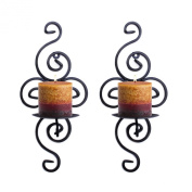 Pair of Elegant Swirling Iron Hanging Wall Candleholders Votives Sconce for Home Wall Decorations, Weddings, Events by Super Z Outlet®