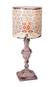 YK Decor Metal Vintage Table Candle Holder Candle Lamp, Beige White