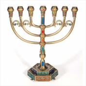 Holy Land Gifts 106627 Menorah 12 Tribes Brass Colour 7 Branched With Hexag