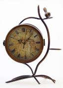 JustNile Antique-Style Table/Desk Clock - Double-Sided Atlas W/Bird Twig
