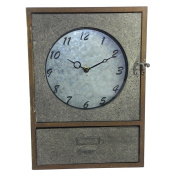 Galvanised Clock Cabinet With Drawer