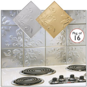 Self Adhesive Decorative Copper Embossed Floral Design Tin Tiles - 15cm x 15cm