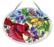 Amia 41583 Songbird Floral Hand-Painted Bevelled Glass 14cm by 18cm Oval Suncatcher, Medium