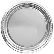 Party Supplies - Elegant Large Round Silver Plastic Serving Trays, 41cm