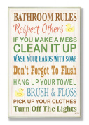 The Stupell Home Decor Collection Bathroom Rules Typography Rubber Ducky Bath Wall Plaque