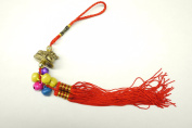 Red Feng Shui Golden Toad with Coin and Bells Tassel