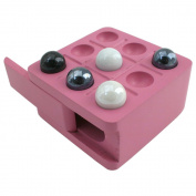 Zoe Travel Tic-Tac-Toe Board Game with Pink Wood Board and Marble Pieces - 7.6cm Set