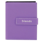 "Pioneer Photo Albums 36-Pocket 13cm by 18cm Embroidered ""Friends"" Strap Sewn Leatherette Cover Photo Album, Mini, Lavender"
