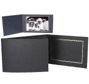 Collectors Gallery Classic Black Portrait Folders for Horizontal 13cm x 18cm Prints with Gold Foil Window Border -