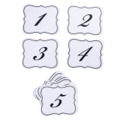 Numbers 1-25 Elegant Table Cards Wedding Reception David Tutera Inspired Scroll Edge Double Side by Super Z Outlet®