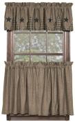 IHF Home Decor 90cm Tier Curtain Vintage Star Black Design Cotton Window Curtains Tiers 180cm X 90cm