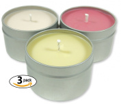 Candlecopia Groovy Goodies 3-Pack Scented Soy Candles - Includes Nag Champa, Dragon's Blood & Vanilla Sandalwood - 80+ Hours Burn Time in three 120ml Travel Tins