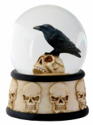 8.9cm Cold Cast Resin Raven on Skull Water Snow Globe Skull Theme