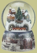Musical Revolving Train Dome Globel