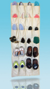 Shoe Rack Closet Organiser System - Over the Door, Hanging Kids Closet Organiser, Shoe Closet Storage, and Purse Closet Organisation with 24 XL pockets