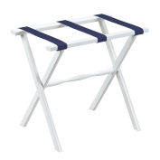 White Straight Leg Luggage Rack with Navy Straps