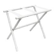 White Bamboo Shaped Luggage Rack with White Straps