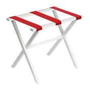 White Straight Leg Luggage Rack with Bright Red Straps