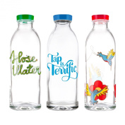 Faucet Face Value Pack - 3 Classic Reusable Glass Water Bottles, 410ml