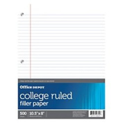 Office Depot(R) Brand Ruled Filler Paper, 3-Hole Punched, 7.3kg, College Ruled With Margin, 28cm . x 22cm ., Ream Of 500 Sheets