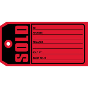 Aviditi G2530 13 Point Cardstock Sold Tag, 10cm - 1.9cm Length x 5.1cm - 1cm Width, Red
