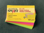 School Smart Heavyweight Ruled Index Cards - 7.6cm x 13cm - Pack of 100 - Assorted Neon Colours