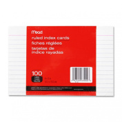 Mead : Index Cards, Ruled, 10cm x 15cm , 100/PK, White -:- Sold as 2 Packs of - 100 - / - Total of 200 Each